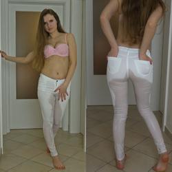 Weiße Jeans mit Natursekt veredelt - sexynaty90