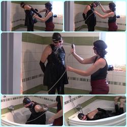 My leather slavegirl, part: Washing - bondageangel