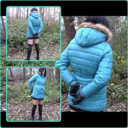 In handcuffs and a blue down jacket - bondageangel