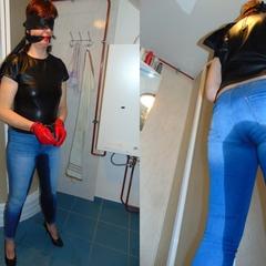Piss in tight jeans II. - bondageangel