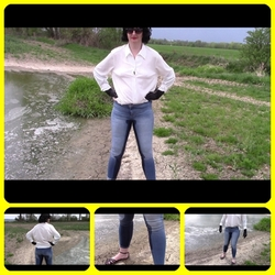Outdoors peeing in tight jeans - bondageangel