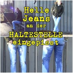 Helle Jeans an der Haltestelle eingepiss - Lara-CumKitten