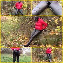 Pissing in leather jeans and gas mask - bondageangel